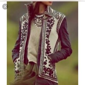 Free People Stitched Quills Embroidered Jacket